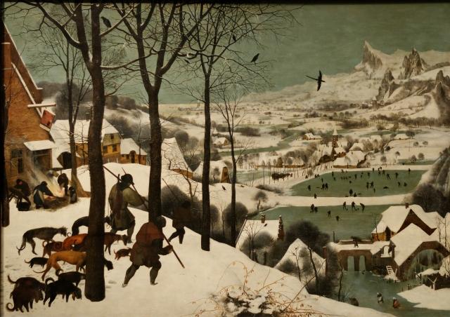 Les chasseurs dans la neige peint en 1565 par Peter Brueghel l'ancien  témoigne du refroidissement de cette mini glaciation
