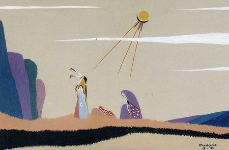 Nativité - Aquarelle du Dr Robert Chesbro de la tribu Muskogee (Cree)