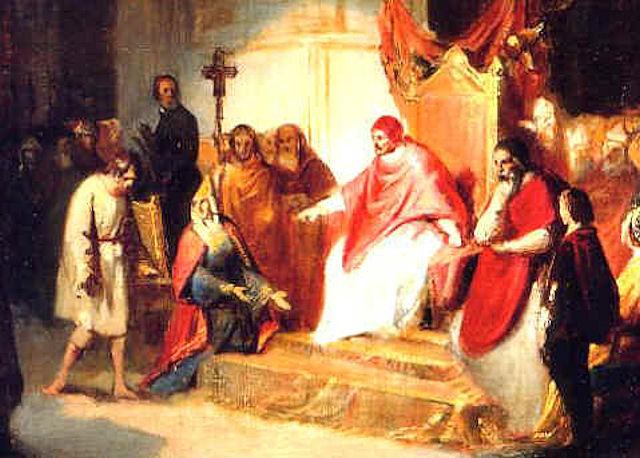 L'empereur germanique Henri IV obligé de s'humilier à Canossa devant le Pape Pape Grégoire VII