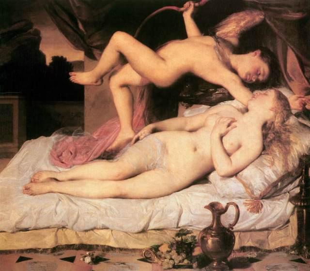 Cupidon et Psyché- peinture de Brocky Caroly - Quelle santé notre Cupidon !!!