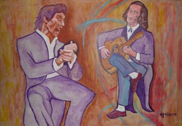 Peinture de Paco de Lucia avec le chanteur de flamenco Camaron de la Isla