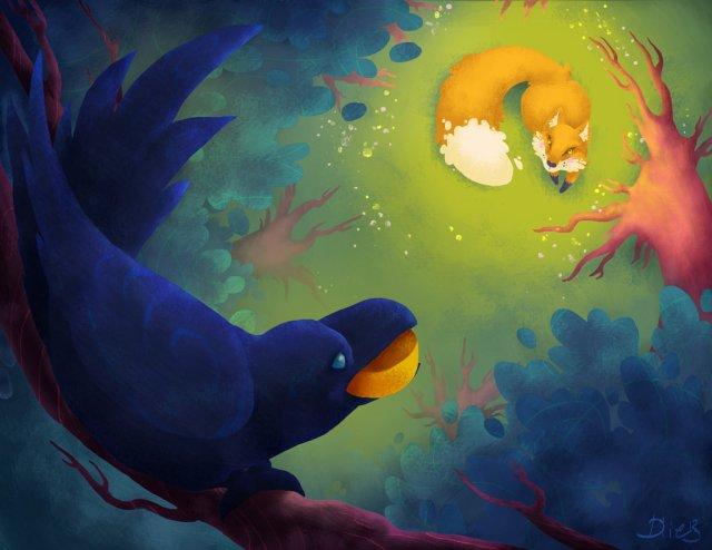 Le corbeau et le renard - illustration de Dlie