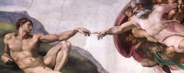 La création d'Adam par Michel Ange. Remarquez bien que n'étant pas encore touché par la Grâce, le premier homme n'est pas encore un homo erectus