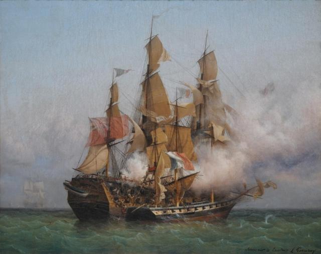 """bataille que """"la confiance"""" le petit bateau de R. Surcouf s'empare de l'énorme vaisseau """"Kent"""" commandé par le capitaine Rivington le 7 octobre 1800."""