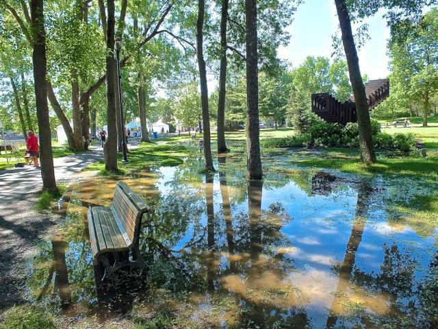 La pelouse était inondée après plusieurs jours et nuits de pluies torrentielles - T-Bear