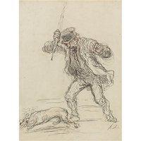 Chien battu - dessin de Daumier