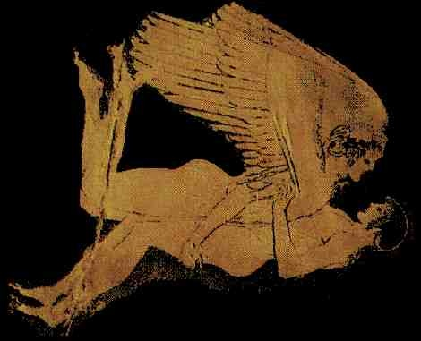 zouitzouit d'un ange avec une fille de la Terre. Remarquez que le peintre antique n'a pas peint la fille en singe.