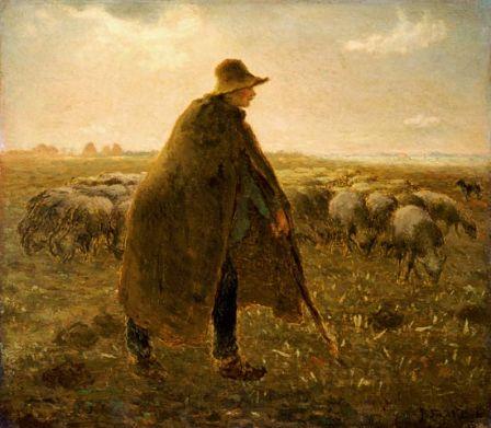 Berger avec sa longue cape peint par Jean-François Millet