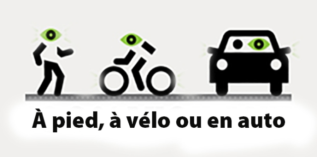 à pied à vélo ou en auto