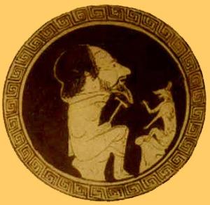 Ésope et le renard. dessin sur une coupe d'époque.