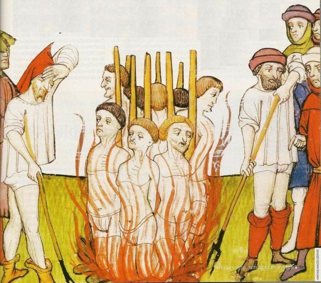 """les Bûchers sur lesquels les """"Papistes"""" brulèrent des millier d'hérétiques au nom de l'amour de Jésus."""