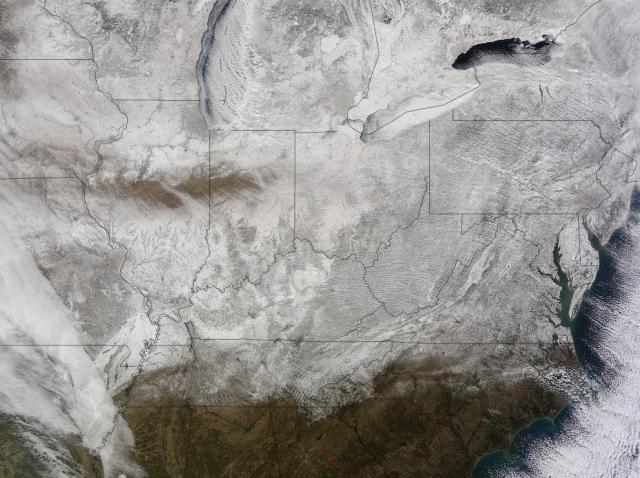 carte satellite de la côte atlantique du Nord Est des États Unis