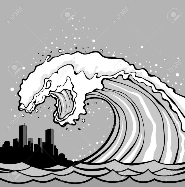 9363943-Huge-wave-of-tsunami-overflows-coast-City-in-danger--Stock-Vector