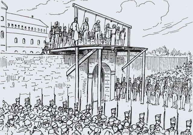 """pendaison des Patriotes par les maudits """"ANGLÂS"""" en 1838"""