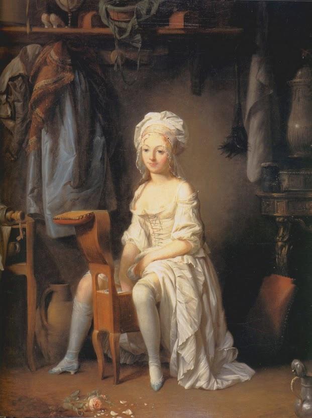 le bidet entre les bains mensuels - peinture de Boilly : la toilette intime ou la rose feuillée