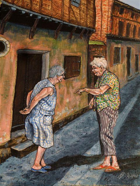 Deux femmes bavardant dans la rue Panessac du quartier médiéval, tout près de l'atelier - peinture T-Bear