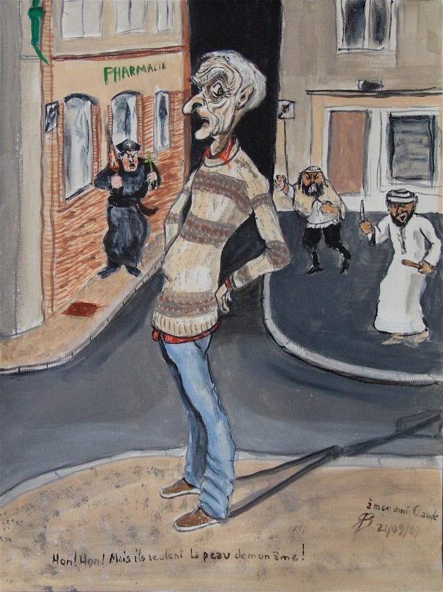 """Caricature d'un des personnages remarquables qui hantaient """"le confessionnal """" mais qui n'est pas Michel - dessin T-Bear"""