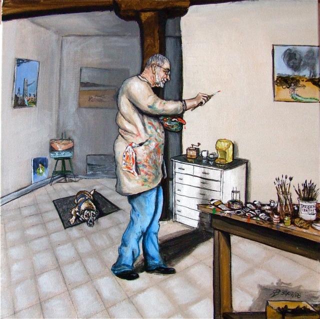 autoportrait de T-Bear peignant le vide dans son atelier - peinture T-Bear
