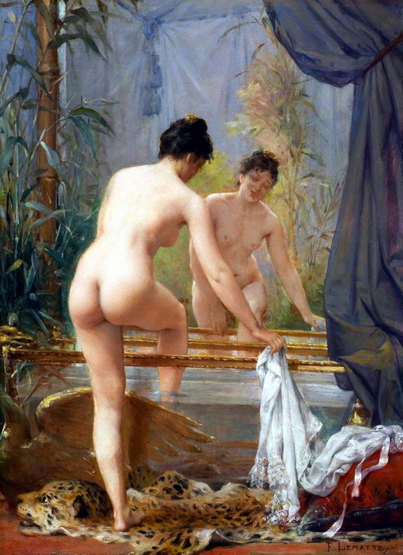 Fernand Le matte : jeune femme au bain fin du XIXe siècle