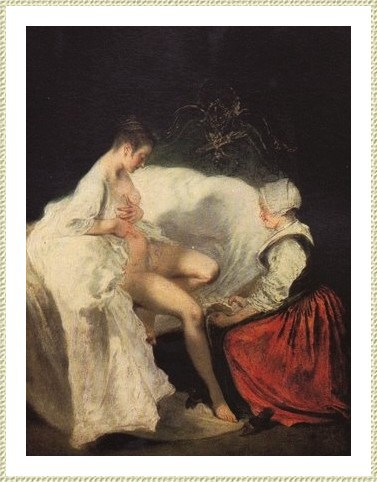 Antoine Watteau : toilette intime. On se nettoyait l'intimité à sec avec des chiffons.