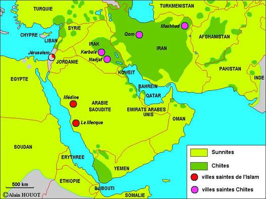 carte des disparités religieuses dont  les Français et Britanniques n'ont pas tenu compte pour redessiner les cartes