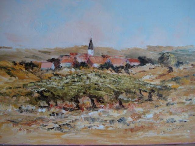 Tableau d'un paysage de Lorraine avec ses vignes accrochées aux vallons des vosges
