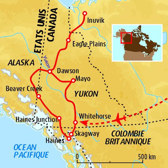 carte des ports de débarquement en Alaska pour rejoindre le Klondike par les passes et descendre par la rivière jusqu'à Dawson.