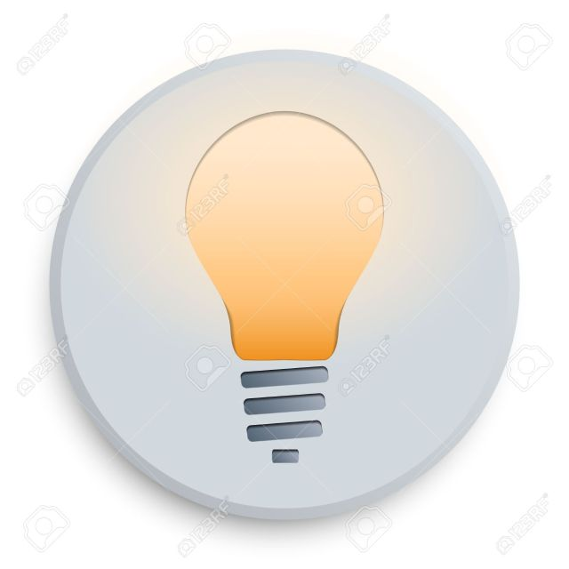 The symbol of lighting the lamp on a white icon on a blue background. Isolated background.