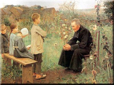 La leçon de catéchisme - peinture de Jules Alexis Muenier
