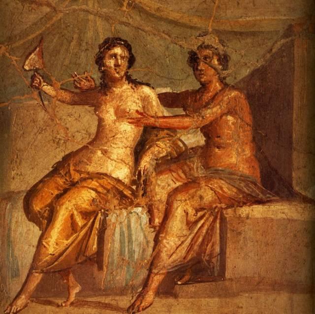 50-79 Les Amants 31x31 cm IVe Style Pompei, Maison de Meleagre