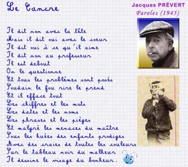 Jacques Prévert l'immense poète fut lui aussi un cancre