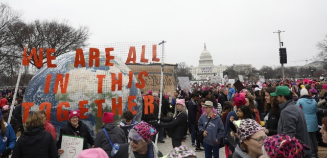 WASHINGTON, DC - JANUARY 21: Protesters gather on the National Mall during the Women's March on Washington January 21, 2017 in Washington, DC. The march is expected to draw thousands from across the country to protest newly inaugurated President Donald Trump. Aaron P. Bernstein/Getty Images/AFP